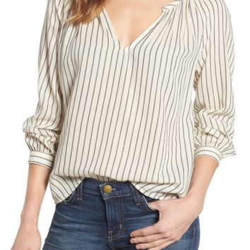 Lucky Brand Stripe Peasant Blouse | Nordstrom