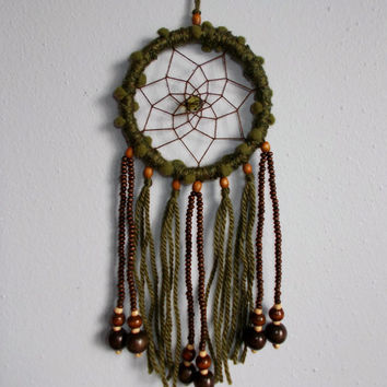 3'' Green and Brown Dreamcatcher - Wall Hanging Home Decoration - Car Rear View Mirror Decor - Hippie Boho Dream Catcher - Car Accessory