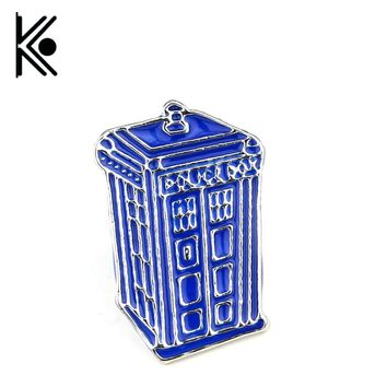 OB Doctor Who Dr Mysterious series brooch badges Fashion Blue Tardis Box Enamel Tie Lapel Icons Brooch Pins Dress