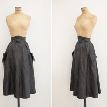 1980s Leather Skirt - Vintage 80s Black Leather Circle Skirt - Vampire Hunter Skirt