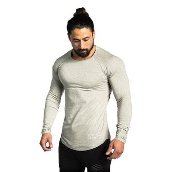 New Men Long Sleeves T shirt Men's Gyms Fitness Bodybuilding Workout Clothing Male Casual Tee Tops