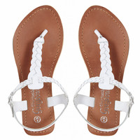 New Look Gladice White Woven Leather Flat Sandals