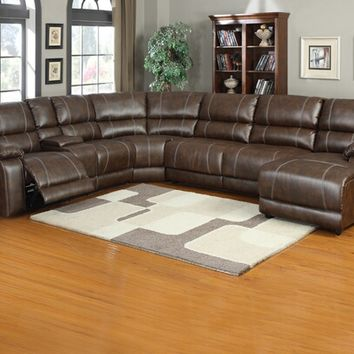 A.M.B. Furniture & Design :: Living room furniture :: Sofas and Sets :: Leather sectionals :: 6 pc Miller saddle brown bonded leather sectional sofa with recliners and chaise