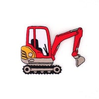 Red Backhoe Applique Iron on Patch Size 8.5 x 6.4 cm