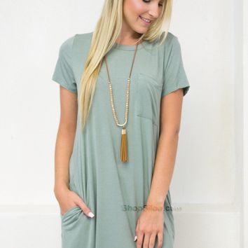 Pale Bamboo Pocket Dress