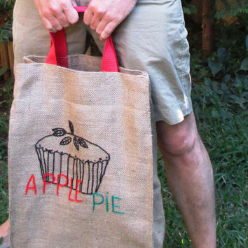 Apple pie jute market tote, farmers bag, chic, stylish, attactive, roomy