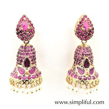 Unique bell Ruby CZ jhumka Earring