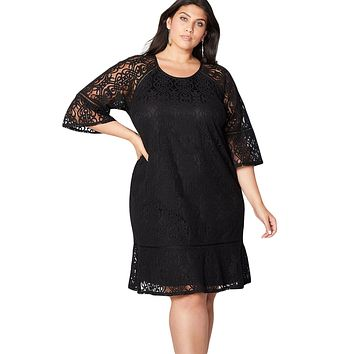 Black Crochet Lace Overlay Plus Size Midi Dress