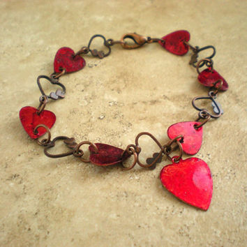 Heart Bracelet: Red - Copper Jewelry - Heart Jewelry - Hippie Jewelry - Cute Jewelry - Girlfriend Gift - Red Hearts - Valentine