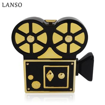 LANSO Personality Vintage Funny Video Recorder Acrylic Evening Bags Unique Design Women Handbags Party Purse Clutch Bag