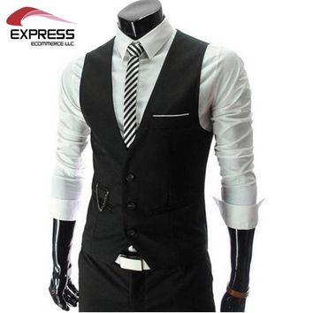 New Arrival Men Suit Dress Vests Men's Fitted Leisure Waistcoat Casual Business Jacket Tops Three Buttons 2016 Free shipping