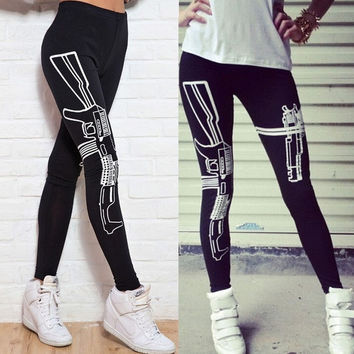 Women's Fashion Pants Gun Printed Cotton Leggings Elastic Bodybuilding Tight Pants = 5697879489