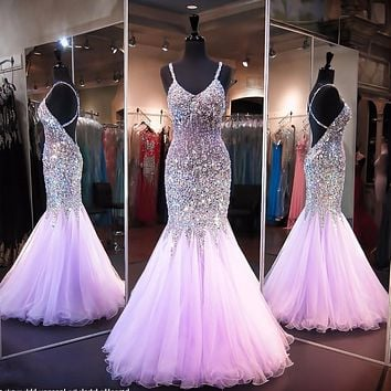 Coral Rhinestone Sexy Backless Mermaid Long Prom Dresses 2016 Spaghetti Strap Crystals Prom Gowns Party Long Evening Dress