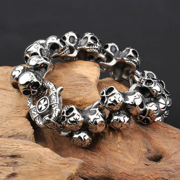Stainless Steel Skull Bracelet For Men Fashion Mens Biker Jewelry Accessories Punk Cool Friendship Mens Bracelets Bangles