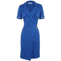 Bqueen Cotton Shirt Dress Blue K107L - Designer Shoes|Bqueenshoes.com