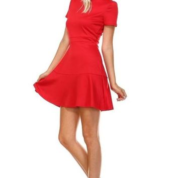 LMFDP2 Women's High Neck Short Sleeve Fit and Flare Dress