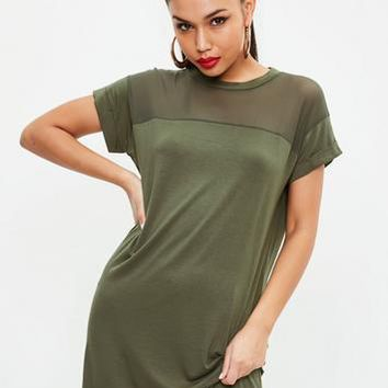 Missguided - Khaki Mesh Tshirt Dress