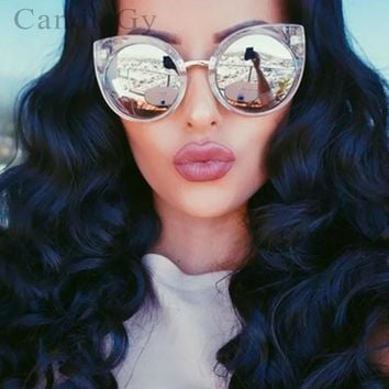 Cool Clear Frame Cat eye Cateye Big Size Sun Glasses Fashion Vintage Mirror Sunglasses Lady Eyewear High Quality
