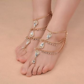 New Fashion Bridal Barefoot Sandals Wedding Shoes, Foot Jewellery BEACH Crystal Rhine