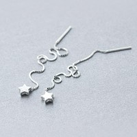 real. 925 Sterling Silver pull through Star Thread Threader Long Earrings dangle Tassel Wire Bars Box Chain Gtle405