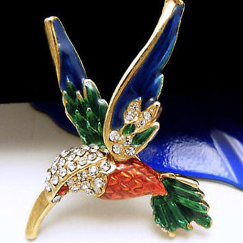 Absolutely Stunning Vintage Hummingbird Figural Brooch Pin Of Enamel & Rhinestones on Goldtone