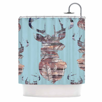 """Suzanne Carter """"Wild And Free"""" Blue Brown Shower Curtain"""