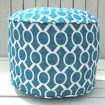 "Turquoise pouf ottoman 18"", round ottoman, teal trellis pouf, turquoise floor cushion,aqua green and white nursery pouf, playroom pouf"