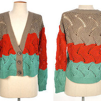 Women Long Sleeve LOOSE CROCHET Button Front KNIT CARDIGAN SWEATER