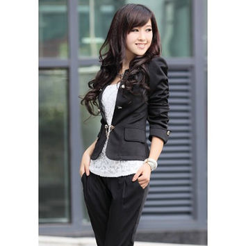 Black Bowknot Button Design Blazers with Pockets