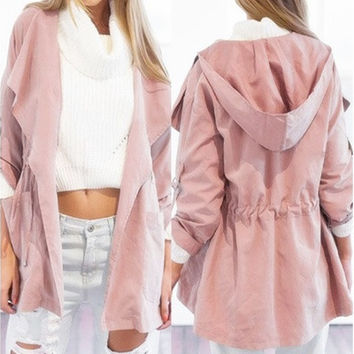 Women's Fashion Casual Hoodies Windbreaker Jackets Lightweight Outweight Outwear Coat Size S-XL [8833672716]