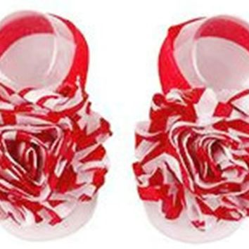 Shabby Chic Baby Toddler Barefoot Sandal Red Chiffon Flower Elastic Foot Wear  2 Pc 1 Pair New Item