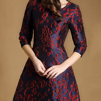 Navy Plus Size Long Sleeve Jacquard Pockets Dress