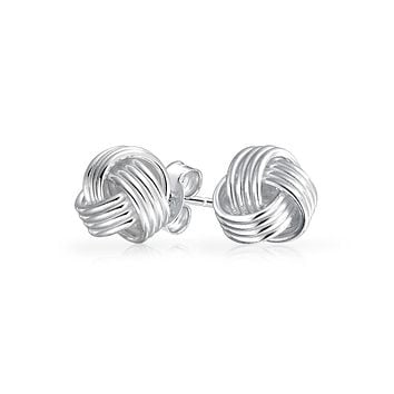 Knot Ball Stud Earring Woven Twisted Rose Gold Plated Sterling Silver