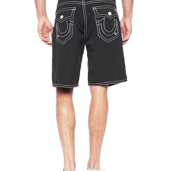 True Religion Ricky Big T Stitch Mens Boardshort - Black