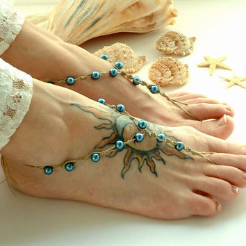 Handmade Barefoot Sandals // Teal Blue // by MoJosFreeSpirit