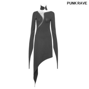 Gothic personality Women high density skin-friendly knitting Cotton Dress  S-Curve V-shaped Tied rope sexy Dress PUNK RAVE