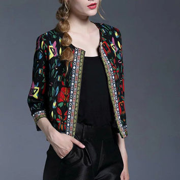 Black Tribal Print Outerwear With Embroidered Tape Detail