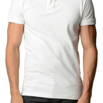Men's Cotton Slim Fit White Polo Shirt