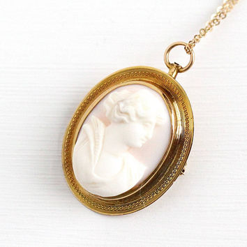 Sale - Antique 10K Yellow Gold Pink Angel Skin Coral Cameo Pendant Brooch - Early 1900s Edwardian Carved Shell Fine Necklace Jewelry