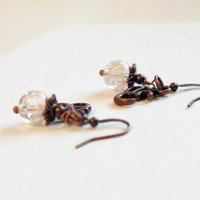 Antique Copper Clear Ice Flake Quartz Om Gemstone Earrings