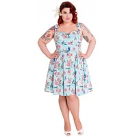 Hell Bunny Victorian Cottage Happy Bluebird & Pink Rose Blue Mini Dress
