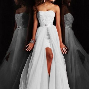 new design high short Strapless pure white lace wedding dresses, wedding dresses with detachable skirts removeable crystal lace