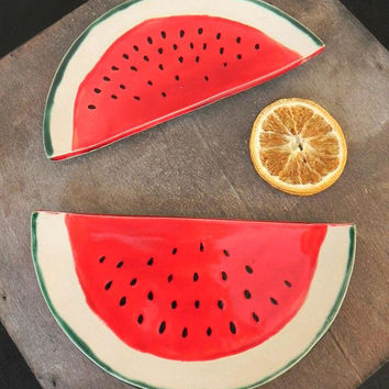 Watermelon Ceramic Trinket Plate, Foodie Gift, Vegan Gift, Gardening Gift, Fruit Pottery Dish,  Red Spoon Rest, Healthy Food Gift