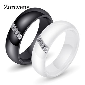 ZORCVENS White Black Ceramic Rings For Women Smooth Surface Inlaid Zircon Women Stainless Steel Wedding Engagement Ring