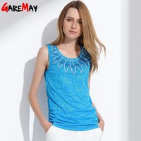 Women Sleeveless Blouse Fashion Lady Slim Tops Elegant Rhinestone Rose Pattern Sleeveless Shirt