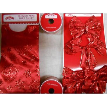 Holiday Time 4-Piece Red Mini Christmas Tree Kit