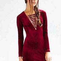 Ecote Velvet Lace-Up Bodycon Dress - Urban Outfitters