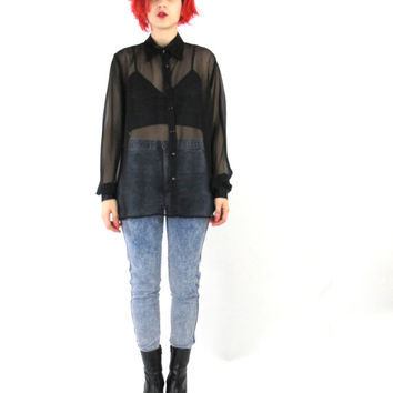 90s Sheer Black Blouse See Through Mesh Shirt Minimalist Goth Satin Collar Button Down Shirt Chiffon Womens Long Sleeves Shirt  (XS/S/M)