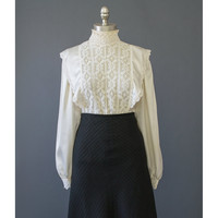 Vintage 70s Blouse - Victorian Style Lace Blouse - Cream Satin Blouse - Edwardian 1970s Blouse - Off White High Collar Prairie Blouse