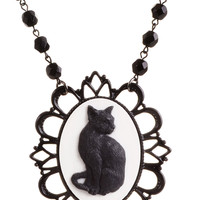 Black Cat Victorian Cameo Necklace